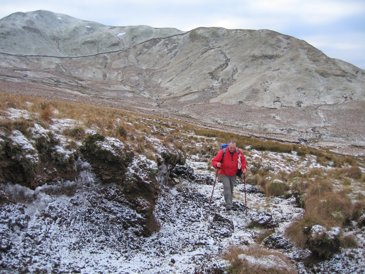 Rather than take the normal route across to The Nab we descended the ridge behind David, crossed Yewgrove Gill and headed up round the frozen hags