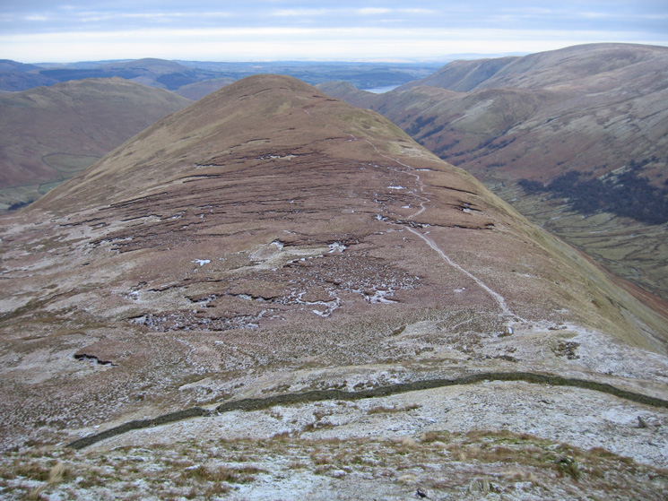 Looking back to The Nab from the steep ascent of Rest Dodd