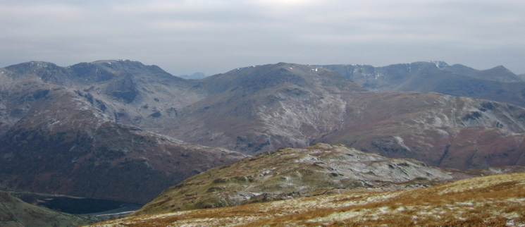Hart Crag, Fairfield, Great Gable in the distance, St Sunday Crag, Helvellyn and Catstycam