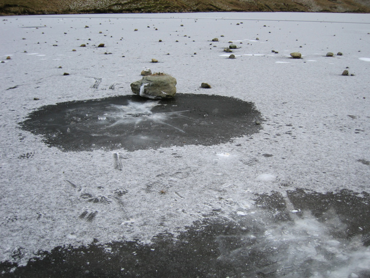 Even the biggest rocks failed to break through the ice