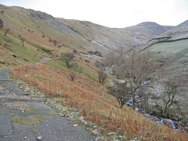 Looking back up the Filter House track by Hayeswater Gill with The Knott in the distance