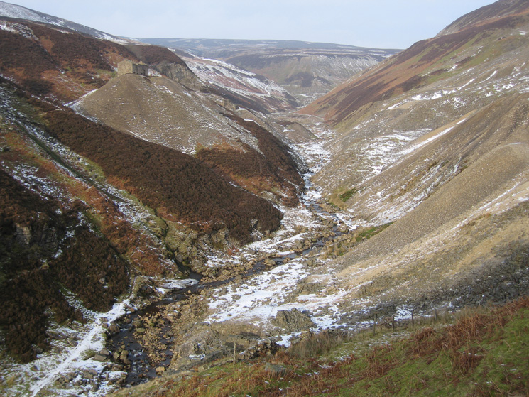 Gunnerside Gill with the hushes and mine spoil