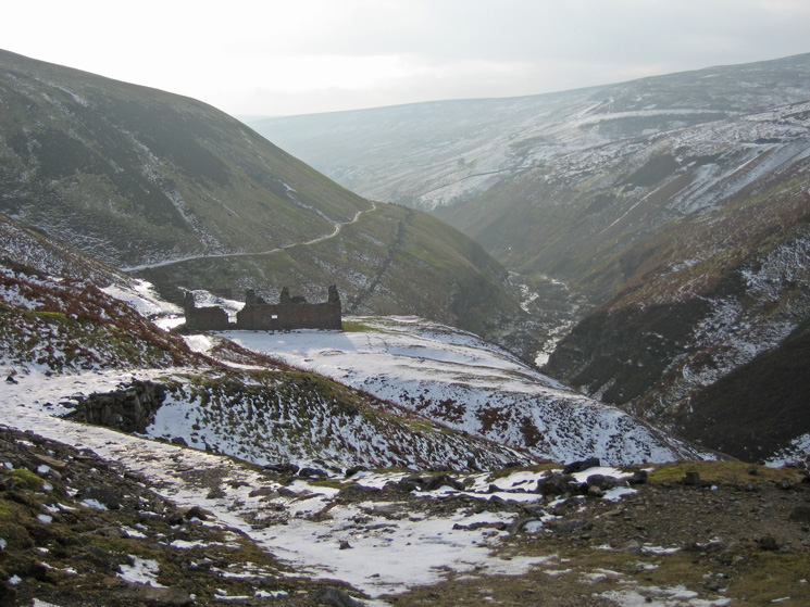 Looking back down Gunnerside Gill from above Bunting mine