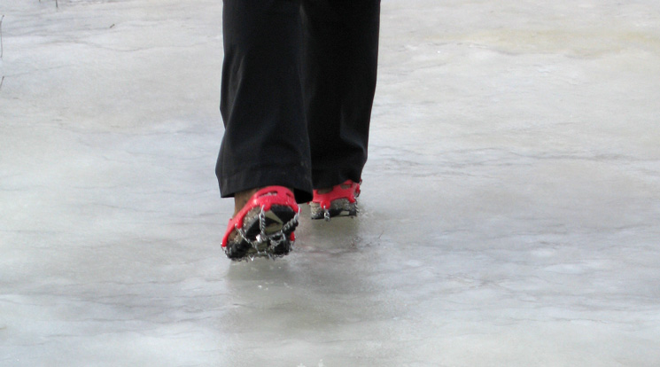 Walking on ice is easy with Kahtoola Micro Spikes