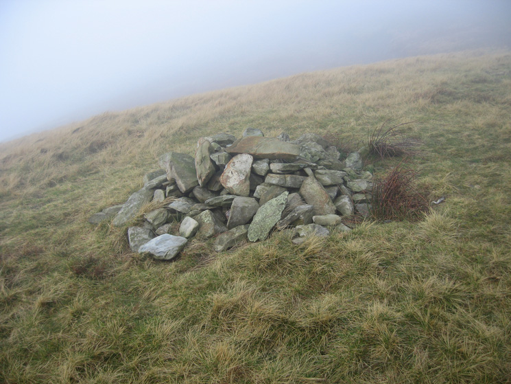 The cairn just south of Blease Fell's summit, the guidebook talks of excellent views from here, but not today!