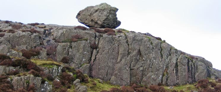 Perched boulder (See Wainwright Haystacks 10)