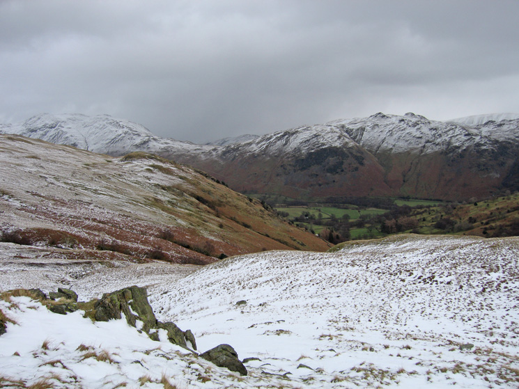 Place Fell and Angletarn Pikes to the east as we get into the snow