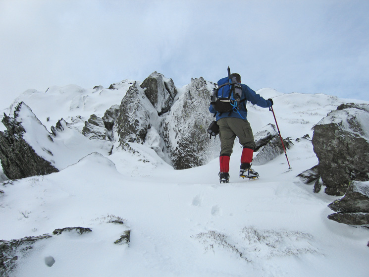 Ascending the east ridge