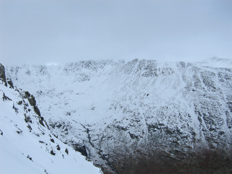 The top of Helvellyn remains in cloud