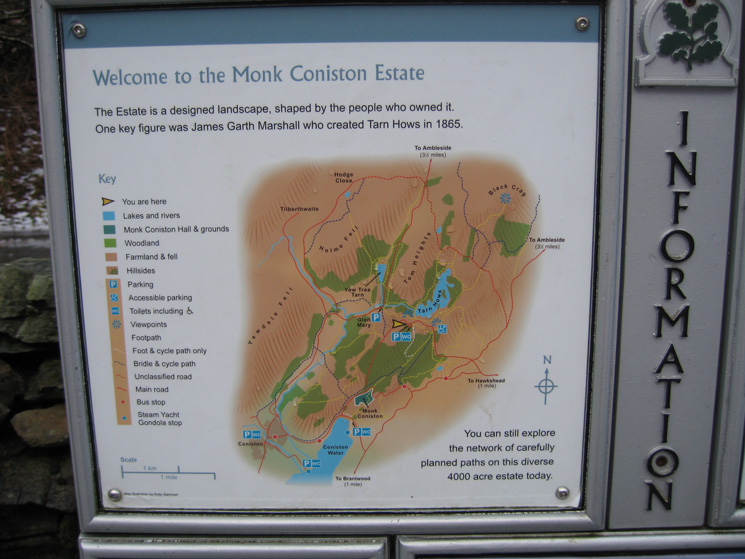 Part of the information board at the Tarn Hows carpark
