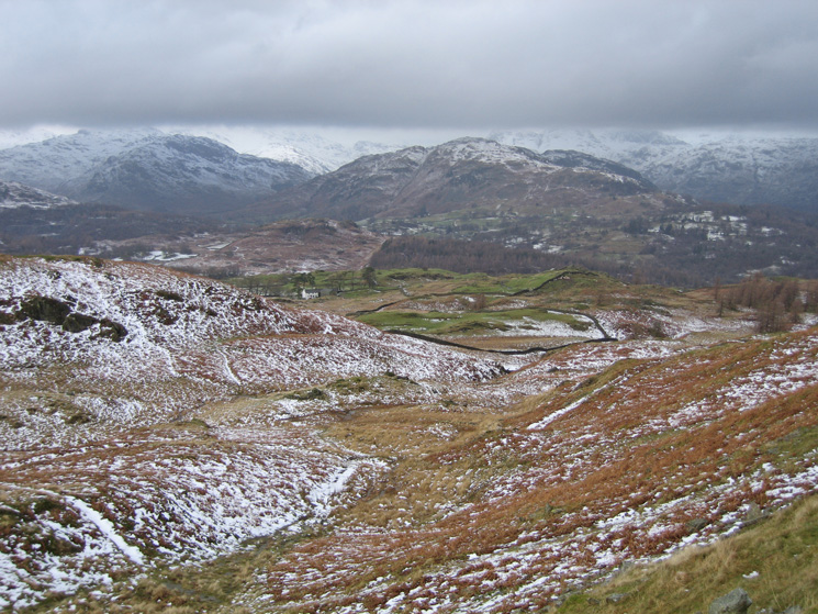 Looking towards the Langdale fells with Lingmoor Fell in the middle