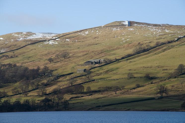 Sleddale Hall from Wet Sleddale Reservoir's dam