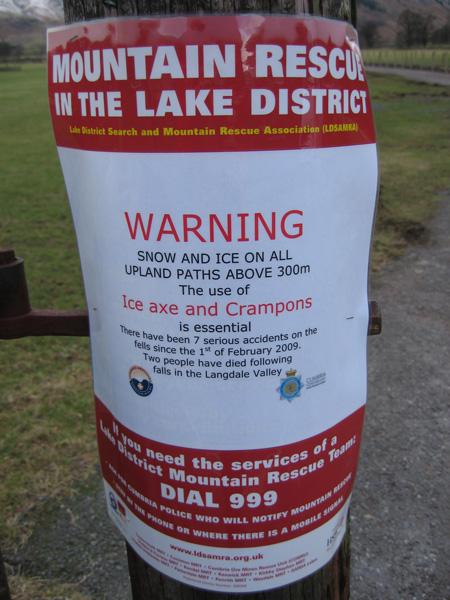 Mountain Rescue warning