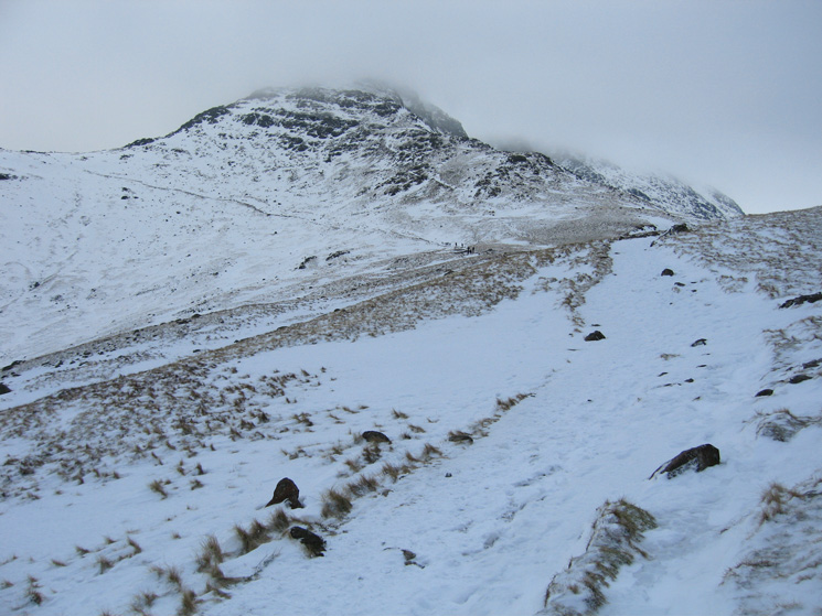 Bowfell from The Band and the weather has turned. This was not forecast!