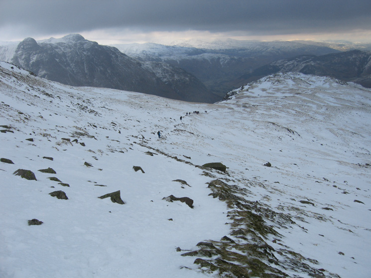 Looking back down The Band with the Langdale Pikes on the left