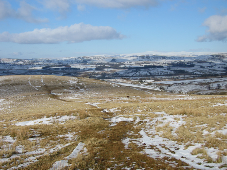 Looking back north to Roger Howe with the North Pennines in the distance