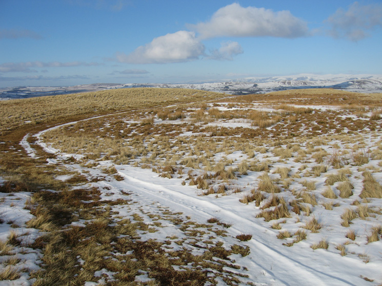 Looking back, the path goes round a small unnamed tarn between Powson Knott and Blease Fell