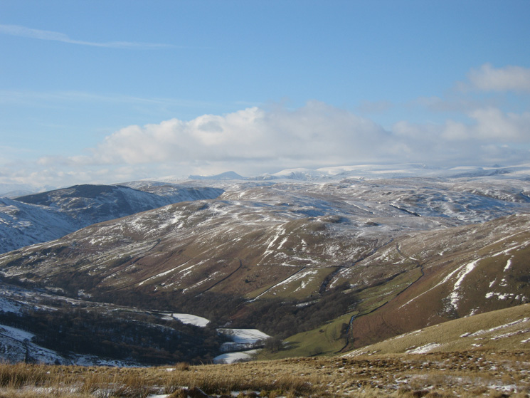 Looking west into the Lake District. The triangle peak is Ill Bell