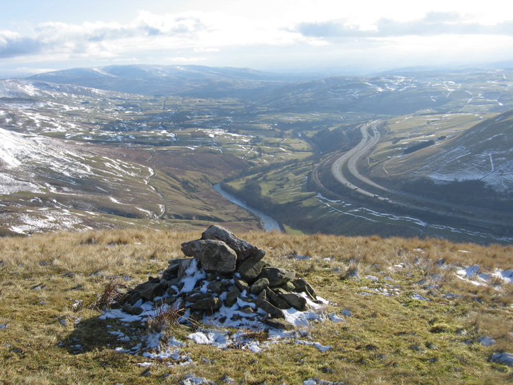 The River Lune and the M6 from the cairn just south of Blease Fell's summit