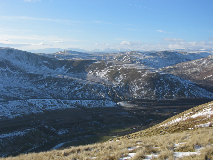 The Lakeland fells and M6 from Blease Fell