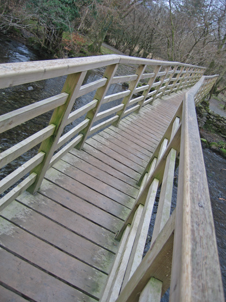 Footbridge over the River Rothay near White Moss Common