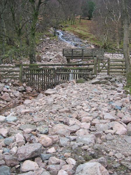 Last October's storm brought lots of rubble down Sourmilk Gill