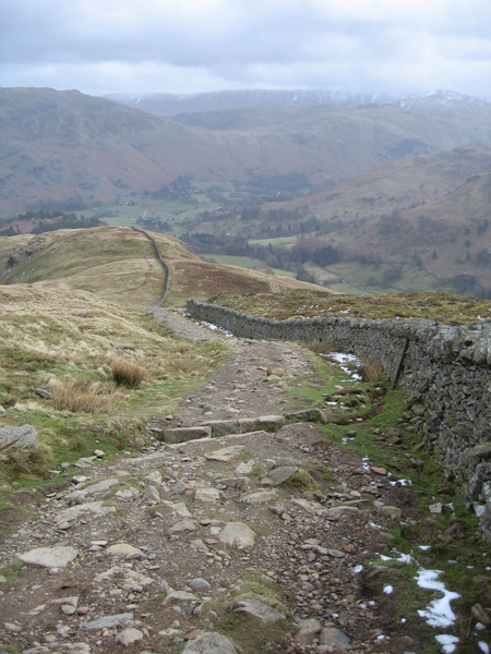 The wall and path up Birkhouse Moor's east ridge