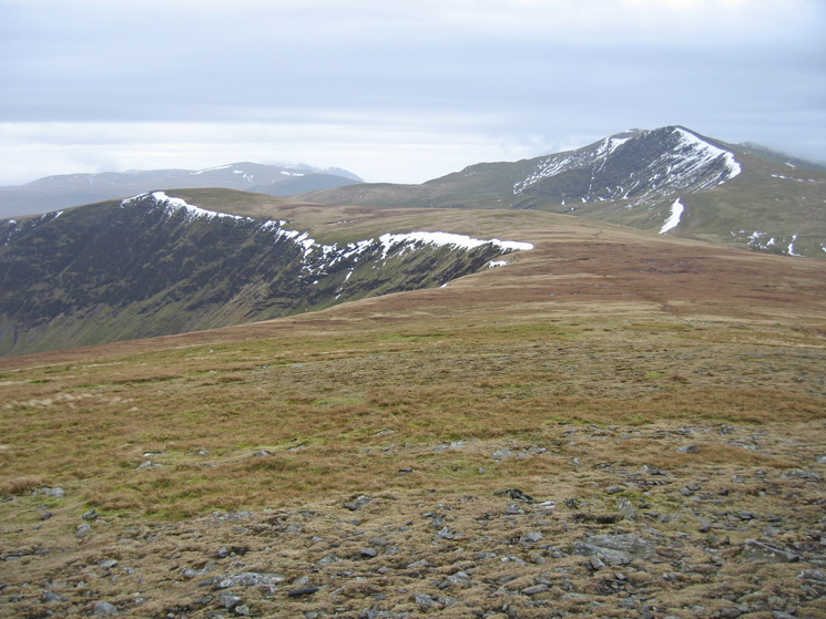 Bannerdale Crags and Blencathra from Bowscale Fell's summit