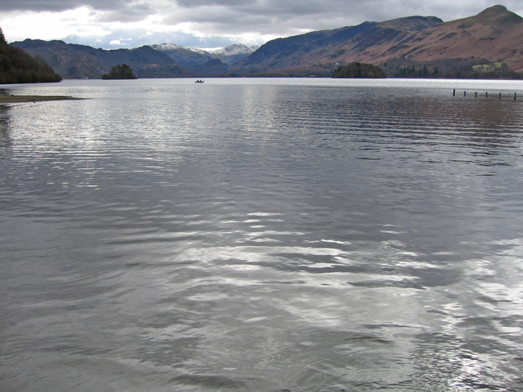 The view up Derwent Water with Catbells on the far right