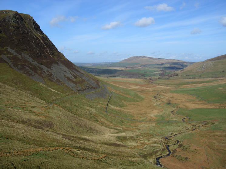 Dead Crags and the valley of Dash Beck with Binsey in the distance