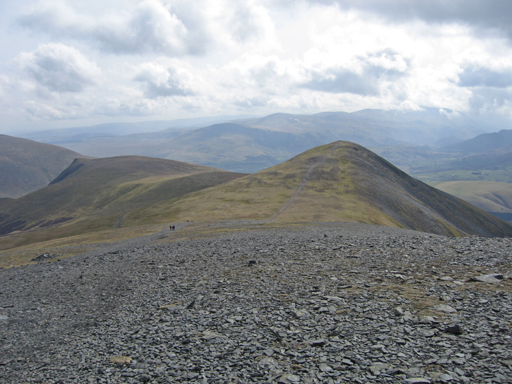 Lonscale Fell and Skiddaw Little Man with the Helvellyn ridge in the distance