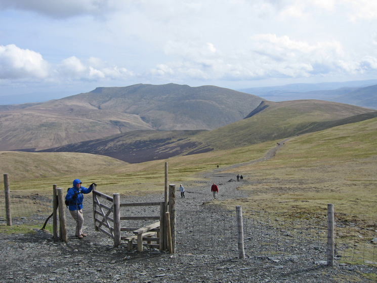 Blencathra and Lonscale Fell from the point where we head left off the main track