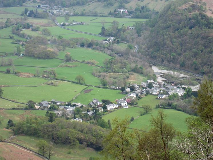 Grange, far below