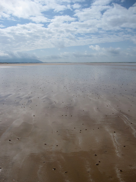 On the beach at Drigg, looking south to a cloudy Black Coombe