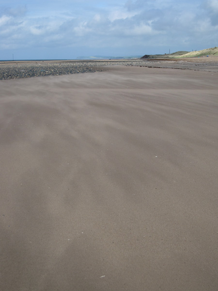 On the beach at Drigg, St Bees Head in the far distance
