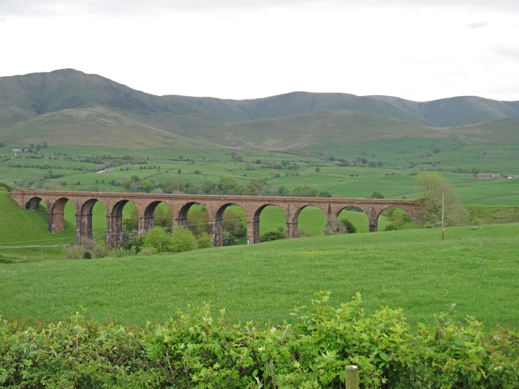 Looking over Lowgill Viaduct to the Howgills with Fell Head on the far left