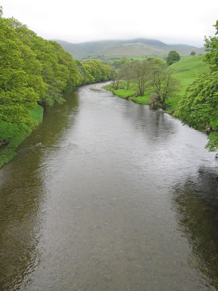 The River Lune from the Crook of Lune with the top of Fell Head now in cloud