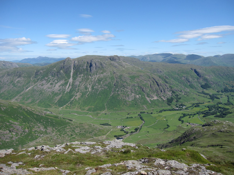 The Langdale Pikes and Great Langdale from Pike o'Blisco's summit
