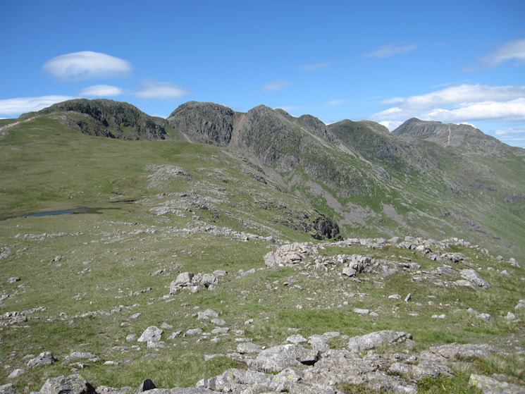 Crinkle Crags and Bowfell from Great Knott's summit