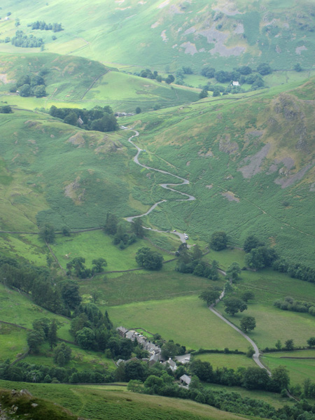 Howtown below and the Hallin Fell zig-zags