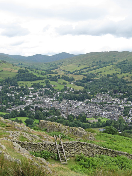 Ambleside from Todd Crag with the conical Froswick and Ill Bell in the distance