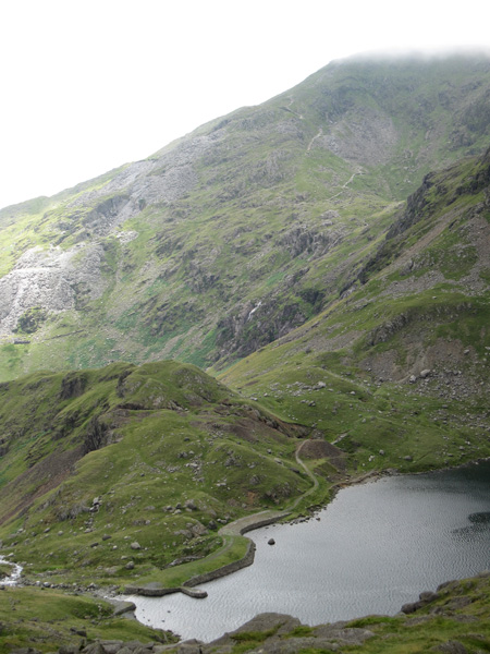 Levers Water and Coniston Old Man with its head in the clouds