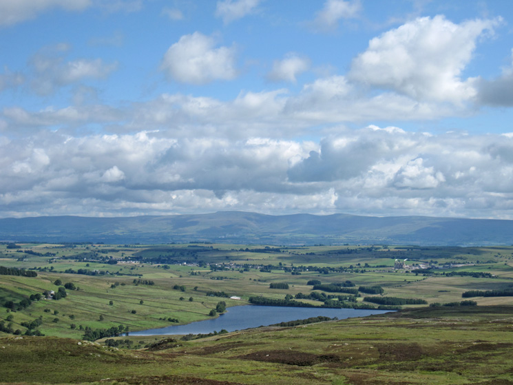 Wet Sleddale Reservoir and the North Pennines from Sleddale Pike's summit