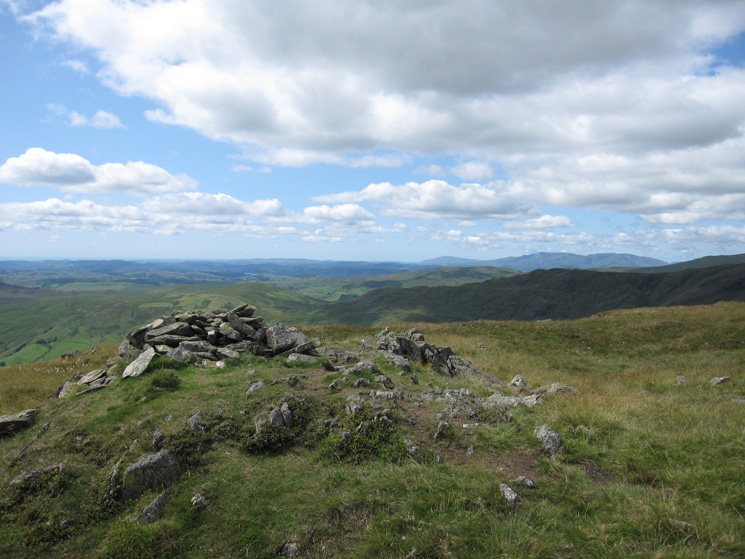 Black Combe and the Coniston fells in the far distance from Grey Crag's summit cairn