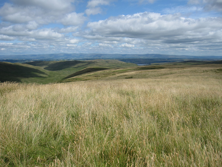 The view north east to the North Pennines from Tarn Crag with Mosedale on the left and Wet Sleddale Reservoir right of centre