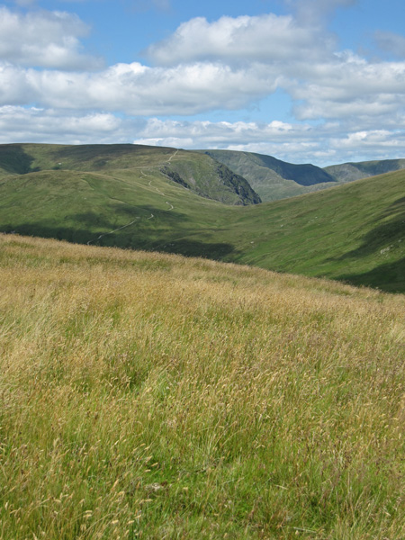 Harter Fell (with engineered path) and Long Stile onto High Street seen above Gatescarth Pass