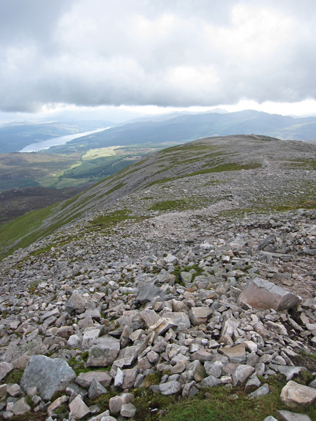 Looking back along the ridge with Loch Tummel in the distance