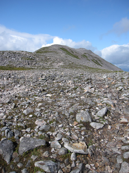 Looking back towards the summit as I retrace my route