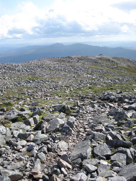 Schiehallion summit ridge, the cairn is the one on the false summit mentioned earlier