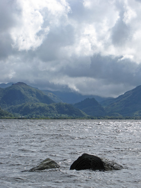 King's How and Castle Crag with the Hundred Year Stone virtually submerged